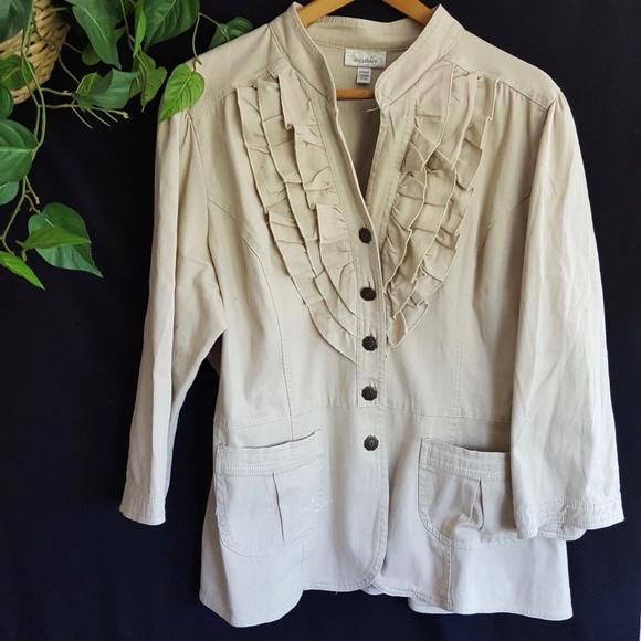 9ce9b87d5a2 Dress Barn Jackets   Blazers - Dressbarn Jacket Ruffled Canvas Beige Plus  18W 20W